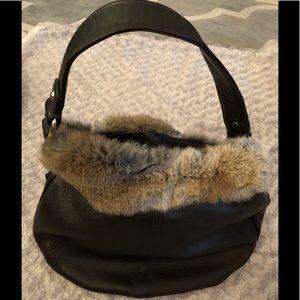 Diane Gail Brown Genuine Leather Bag w/Rabbit Fur